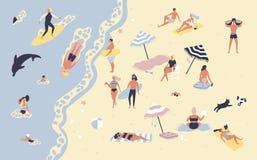 Folk på stranden eller kusten som kopplar av och utför utomhus- aktiviteter för fritid - solbada, läseböcker som talar stock illustrationer