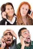Folk på telefonen Arkivfoto