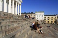Folk på trappa Arkivbild