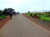 Folk på vägen till den Kaas platån royaltyfri bild