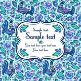 Folk painting seamless with sample text. Folk traditional painting. Seamless pattern with flowers and birds and sample text Royalty Free Stock Images