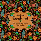 Folk painting seamless with sample text. Folk traditional painting. Seamless pattern with flowers and birds and sample text Stock Photography