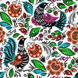 Folk painting seamless. Folk traditional painting. Seamless pattern with flowers and birds Royalty Free Stock Photo
