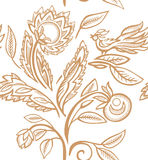 Folk pattern with bird and herbs. Stock Photography