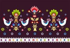 Folk Pattern With Birds - dark. Polish traditional folk pattern - on a dark background stock illustration