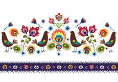 Folk Pattern With Birds Stock Photo