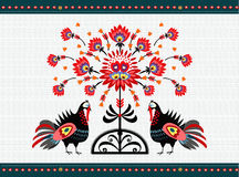 Folk Pattern With Turkeys Stock Photo