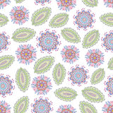 Folk pattern-02. Vector flower seamless pattern. Botanic texture, detailed flowers illustrations. Doodle hand drawn style, folk gentle floral background Royalty Free Stock Images