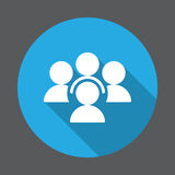 Folk plan symbol för konferens Rund färgrik knapp, runt vektortecken med lång skuggaeffekt royaltyfri illustrationer