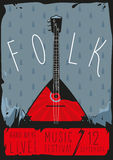 Folk poster. With balalaika. Music grunge background vector illustration