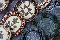 Folk pottery 3. Romanian traditional pottery in the form of plates, painted with specific reasons Corund area, Transylvania royalty free stock photo
