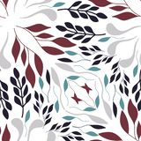 Folk red green and grey leaves on white background seameless rep vector illustration