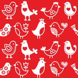 Folk, retro red background with birds - seamless pattern Royalty Free Stock Photo