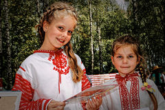 Folk rituals yield improvements in the Gomel region of the Republic of Belarus in 2015. Dressed in traditional costumes, the villagers, including women and Royalty Free Stock Photos