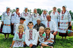 Folk rituals yield improvements in the Gomel region of the Republic of Belarus in 2015. Dressed in traditional costumes, the villagers, including women and Stock Photography