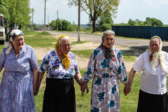 Folk rituals yield improvements in the Gomel region of the Republic of Belarus in 2015. Dressed in traditional costumes, the villagers, including women and stock photos