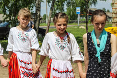 Folk rituals yield improvements in the Gomel region of the Republic of Belarus in 2015. Dressed in traditional costumes, the villagers, including women and royalty free stock images