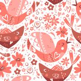Folk romantic ornament with flower, fish and bird. Seamless patt. Folk romantic ornament with flower, fish and bird. Seamless ethnic  pattern, vector Stock Photography