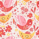 Folk romantic ornament with flower, fish and bird. Seamless patt. Folk romantic ornament with flower, fish and bird. Seamless ethnic  pattern, vector Royalty Free Stock Photos