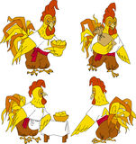 Folk rooster. Illustration of fairy tale rooster with pie  rooster from fairy tale Stock Images