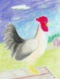 folk roosterwhite Royaltyfri Foto