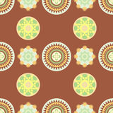 Folk round ornament. With a brown background vector illustration