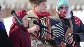 Folk singers in celebration of Maslenitsa, Russia stock video