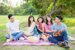 Folk som är lyckligt på en picknick arkivfoto