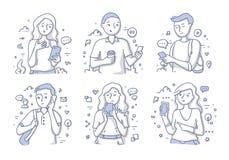 Folk som använder mobiltelefonen vektor illustrationer
