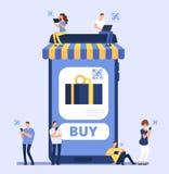 Folk som använder smartphonen för mobil shopping Gods för mankvinnaköp i internetlager med mobiltelefon- och packa ihopapp vektor illustrationer