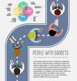 Folk som använder teknologigrejen, telefon, smartphone, minnestavla i kommunikationsbegrepp Plan design stock illustrationer