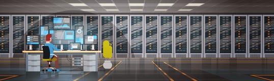 Folk som arbetar i databas för information om övervakning för dator för varande värd server för datorhallrum vektor illustrationer