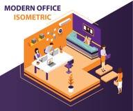 Folk som arbetar i ett isometriskt konstverkbegrepp för modernt kontor royaltyfri fotografi