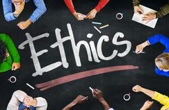 Folk som arbetar, och etikbegrepp Arkivbild