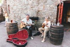 Folk som busking nära barerna i den lilla portstaden på sydvästerna av den Irland Dinglehalvön royaltyfria foton