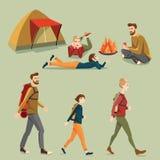 Folk som campar i tecknad filmstil Arkivfoton
