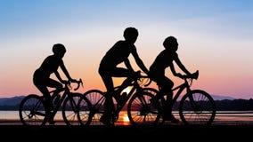 Folk som cyklar på berget Fotografering för Bildbyråer