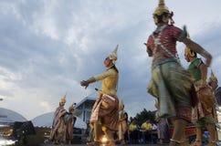 Folk som dansar suverän thai thai stil för maskerings- eller Khon dansdrama Arkivfoton