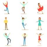 Folk som förkrossas av lycka och den Joyfully extatiska uppsättningen av lyckliga le tecknad filmtecken stock illustrationer