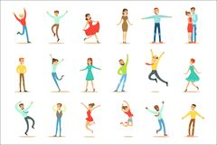 Folk som förkrossas av lycka och den Joyfully extatiska uppsättningen av lyckliga le tecknad filmtecken royaltyfri illustrationer