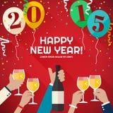 Folk som firar i det lyckliga nya året 2015 för berg stock illustrationer