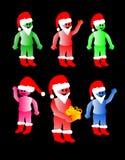 Folk som firar jul som kläs som Santa Claus Stock Illustrationer