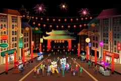 Folk som firar kinesiskt nytt år royaltyfri illustrationer