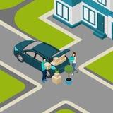 Folk som flyttar sig från isometriskt baner för hus Royaltyfri Bild