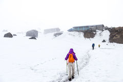 Folk som fotvandrar på snöslinga in mot basläger Arkivbilder