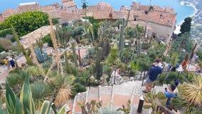 Folk som går i den exotiska trädgården, Eze, söder av Frankrike stock video