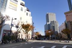 Folk som går i den i stadens centrum Kobe staden Fotografering för Bildbyråer