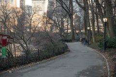 Folk som går nära sjön i Central Park, New York Fotografering för Bildbyråer