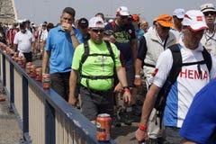 Folk som går på bron av Nijmegen Arkivbild