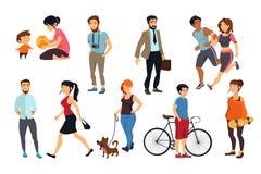 Folk som går på gatan Vektorillustrationuppsättning royaltyfri illustrationer